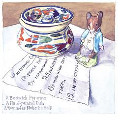 Small Things, Dish, Figurine and Reminder (larosecarmine) Tags: still life dementia mental health johnny town mouse beatrix potter documentary art caroline johnson urban sketcher reportage