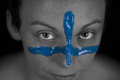 A cross of color (Brad_Kelley_Harris) Tags: color blackandwhite monochrome pop makeup facepaint face paint close up canon 50mm