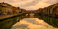 Evening light at Ponte Vecchio Bridge, Florence (S.R.Murphy) Tags: florence italy june2018 pontevecchio bridge tuscany landscape urbanlandscape evening eveninglight water river arno riverarno fujifilmxt2 fujifilmxf1855mm