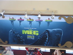 The Meg - megalodon monster shark poster 4930 (Brechtbug) Tags: the meg 2018 film based 1997 science fiction book a novel deep terror by steve alten giant shark movie that has bounced around studios for two decades megalodon monster theater lobby standee amc loews 34th street 14 theatre jaws like summer august holiday ocean creature spooky sea monsters nyc 07072018 new york city midtown west side