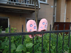 Pairs (navejo) Tags: montreal quebec canada slippers pink flowers fence
