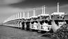 The Oosterschelde storm surge barrier (Duevel) Tags: netherlands zeeland stormvloedkering oosterschelde stormsurgebarrier easternscheldtbarrier deltawerken northsea oosterscheldekering bw
