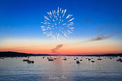 Fireworks in Naples, Maine (sheldonannphotography) Tags: nature landscape boats marina blue pink water lake 4thofjuly longlake maine naples sunset fireworks