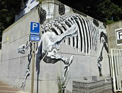 Dinosaur by Bonom (Linda DV) Tags: lindadevolder lumix brussels belgium 2018 geotagged city streetart urbanart urbanculture pencilstreetart crayonscréons crayon créons ribbet