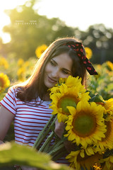 Environmental Portrait . Sunflowers (Elena Grigorieva) Tags: beautiful mood relaxing thankful goldenhour grigorievaphotography sunflowers field nikon beauty woman sun light warm hot summertime sunset portrait nikkor55300mm bokeh blurry background environmental outdoor girl smile happiness moments memories joy life live heart july