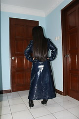Shiny Hair and Coat (johnerly03) Tags: raincoat fashion blue pvc patent coat long shiny hair high heel boots leather