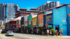 Chinatown, Singapore - traditional and new (kate willmer) Tags: city houses skyscraper car street shops colours singapore chinatown