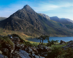 Tryfan from the Carneddau (GDSinclair) Tags: tryfan snowdonia wales north northern mountain ogwen valley llyn llanberis river stream waterfall trees rocks lake sunny summer spring blue sky day may june carneddau sunset mamiya rb67 4x5 6x7 medium format velvia 50 slide film colour positive reversal