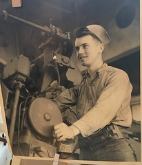 My Father, Gerald Davis, circa late 1944-early 1945. Age 21. Just turned 95 years old last month. Happy 95 Dad!! (Trail Trekker) Tags: usnavy usssaginawbay ussminneapolis worldwar2 guadalcanalcampaign battleoftassafaronga escortcarrier