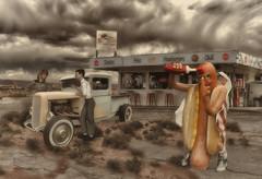 Diner (brian_stoddart) Tags: sky diner usa americana truck figures desert clouds