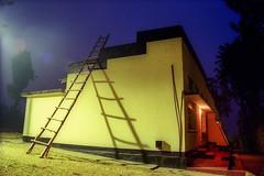 Mbarara, Uganda: Motel Service Ladder (rocinante11) Tags: motel night ladder shadow uganda hoima longexposure timedexposure ambient ambientlight film kodakfilm filmcamera blue bluehour