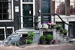 Amsterdam (lorenzog.) Tags: amsterdam tourist holland netherlands street nikon d700 2018 bicycle house home flowers doors windows ilobsterit