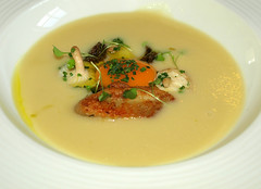 Jerusalem artichoke and truffle soup  Hens egg yolk, crispy chicken wings and girolle mushrooms (Tony Worrall) Tags: jerusalemartichokeandtrufflesouphenseggyolk crispychickenwingsandgirollemushrooms soup egg yolk add tag ©2018tonyworrall images photos photograff things uk england food foodie grub eat eaten taste tasty cook cooked iatethis foodporn foodpictures picturesoffood dish dishes menu plate plated made ingrediants nice flavour foodophile x yummy make tasted meal nutritional freshtaste foodstuff cuisine nourishment nutriments provisions ration refreshment store sustenance fare foodstuffs meals snacks bites chow cookery diet eatable fodder dawn morning early