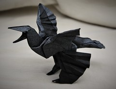 Origami Microraptor Gui 2 (Tankoda) Tags: travis nolan tankoda origami paper art dinosaur mesozoic microraptor gui aptian early cretaceous nicholas terry tissue foil black tan 225 degree design micro raptor wings flight glide