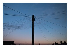 Sunset (Number Johnny 5) Tags: pole lines nikon d750 colours banal sunset light twilight telegraph sky moon angles imanoot johnpettigrew dusk