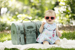 Cook Kid (Nick - n2photography) Tags: park baby infant shades green outdoor portrait sunglasses girl smile happy trunk blanket trees nebraska summer canon5dsr