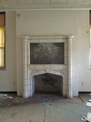Painting above fireplace (tehshadowbat II) Tags: abandoned urbex abandonedschool urbandecay urbanexploring