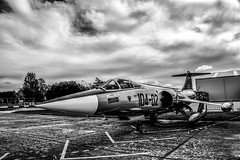 Starfighter (Miguel Angel Prieto Ciudad) Tags: aircraft vehicle jet aviation airplane military flight flying plane fly fighter museum clouds spain spanishairforce heritage black white blancoynegro monochrome sonyalpha mirrorless