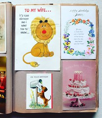 Vintage Greeting Cards In Photo Album - 1950s / 1960s (Christian Montone) Tags: illustration graphics vintagegraphics vintageillustration christmas greetingcards vintage type typography eastercards birthday greetings