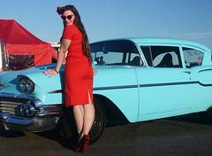 Holly_9216 (Fast an' Bulbous) Tags: classic american car vehicle automobile chevy chevrolet people outdoor santa pod girl woman hot sexy chick babe pinup model red wiggle dress high heels stockings long brunette hair
