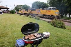 Trains, Burgers and Brats nothing better (kschmidt626) Tags: union pacific train illinois rochelle park railroad graffiti bnsf burlington diamond
