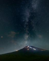 Milky Way to the Fuji  summit (shinichiro*) Tags: 富士吉田市 山梨県 日本 jp 20180715ds54024hdr 2018 crazyshin nikond4s afsnikkor1424mmf28ged fuji july summer fujiyoshida yamanashi japan 滝沢林道 nik hdr