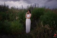 Gea y la Tormenta. (Carlos Velayos) Tags: strobist retrato portrait mujer chica woman girl tormenta storm nubes clouds cielo sky verde green belleza beauty vestido dress hierba grass elegancia elegance