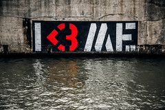 Less than three me (Melissa Maples) Tags: brussel bruxelles brussels belgique belgië belgium europe nikon d3300 ニコン 尼康 nikkor afs 18200mm f3556g 18200mmf3556g vr willebroeksevaart willebroek water canal graffiti streetart art stencil i3me text