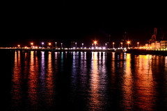 Night stroll ... (Raquel Borrrero) Tags: night nocturnal lights harbor reflections reflejos luces puerto cádiz spain españa nocturna noche mar sea colours