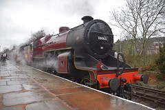 LMS Crab Locomotive after arrival at Rawtenstall, with a service from Heywood. East Lancs Railway. 31 03 2018 (pnb511) Tags: steam engine loco locomotive train track station platform people railway wet rain reflection trees