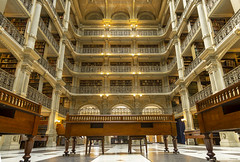 George Peabody Library (johngoucher) Tags: approved architecture room atrium building ceiling library peabodylibrary georgepeabodylibrary greatroom perspective wideangle rokinon12mm sonyimages sonyalpha historic baltimore maryland books castiron railings symmetry