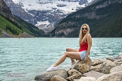 Lake Loise Portrait (Oleh Khavroniuk (Khavronyuk)) Tags: nikon nikkor d750 portrait portraiture model girl posing legs longlegs redlips longhair glasses glamour candid stunning sexy sensual beautiful beauty lady woman red blue emotions memories hiking vacation summer holiday travel traveling alberta banff lakelouise lake louise mountains rocks rockies water rock canada explorecanada travelalberta nature naturaleza retrato pretty 365 new digital photo photoart geotagged snow people happy hair feet day