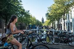 Oude Delft (glukorizon) Tags: 52weeksof2018 bicyclist boom bridge brug canal centrum cyclist delft fiets fietser girl gracht meisje nederland oudedelft oudejan oudekerk plant tree whereilive zuidholland