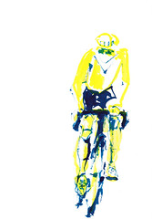 Le Maillot Jaune [20180409] (rodneyvdb) Tags: art bicycle bike contemporary cycling cyclist drawing expression expressionism illustration ink jaune maillot maillotjaune painting sport tour tourdefrance vélo vivelevelo yellow