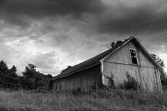 Shaw Farm barn - In Explore (t s george) Tags: decay forgotten old abandoned blackandwhite clouds monochrome shawfarm suttonma canon6dmarkii