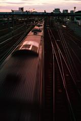 sunset on rails and train (N.sino) Tags: sigma dp2merrill sunset mitaka rail train 三鷹 陸橋 夕日 レール 列車 中央線
