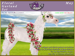 E-SparkleHorn-GarlandSet-May (honeyheart1) Tags: unicorn baby foal garland floral sparklehorn eliteequestrian horse sl secondlife
