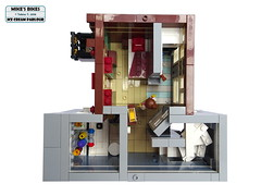 Overview - Second Floor (tobi_241) Tags: lego modularbuilding modular bike shop ice cream parlour cafe corner mikes bikes tobiast moc c