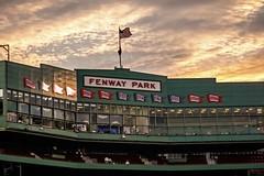 Boston '10 (R24KBerg Photos) Tags: city boston massachusetts 2010 canon baseball ballpark sports stadium fenwaypark mlb bostonredsox dusk evening historic sky clouds banners sunset