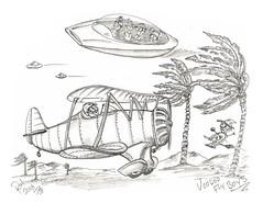 Voodoo Fly Boys (rod1691) Tags: myart art sketchbook bw scfi grey concept custom car retro space hotrod drawing pencil h2 hb original story fantasy funny tale automotive illustration greyscale moonpies sketch sexy voodoo