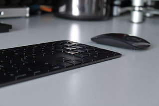 Apple black keyboard and mouse
