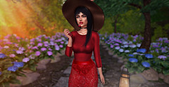 cheri lady (UGLLYDUCKLING Resident) Tags: secondlife sl avi avatar girl brunette virtual world scenery cherry cheri cherilady lady garden trees flowers sun light colors paint maitreya catwa ugllyduckling moonelixir ascendant lookatme semotion vanityhair blogger fashion ootd style elegant red hat