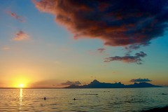 Tranquility (nataliehampel) Tags: mountains color colours pastels earth nature landscape swimming water ocean island beach dusk sunset clouds seascape tahiti