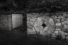 Stone Fence (crabsandbeer (Kevin Moore)) Tags: vpc baltimore baltimorecounty landscape rural summer valleysplanningcouncil stone fence gate millstone stonefence woodengate architecture path maryland farm