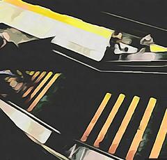 (sftrajan) Tags: bart transit station edited camart cartoonized 2018 architecture staircase stairs escalera stairway escalier civiccenterstation sanfrancisco cartoon