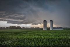 Country Storm (Justin Loyd Photography) Tags: today thunder midwest 24105l 5dmarkiv canon country rural nature silo summer green iowa corn field storm clouds