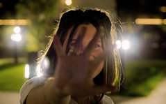 hand and lanterns (toivo_xiv) Tags: girl model women hair hand lanterns beauty portrait darkness closeup light softlight nightlight green fingers kyiv ukraine bokeh boke face