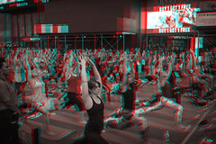 New York, New York (DDDavid Hazan) Tags: newyork ny nyc newyorkcity timessquare yoga exercise crowd street lights advertising illboard yogamat anaglyph 3d bwanaglyph blackandwhiteanaglyph 3danaglyph 3dstereophotography redcyan redcyan3d stereophotography stereo3d people