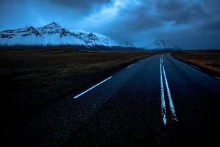 Blue Hour during a drive from Hofn to Egilsstadir, Iceland.