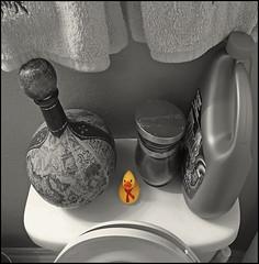 (Cliff Michaels) Tags: iphone8 photoshop pse9 rubberduck toilet towells liquidplumer bathroom jar